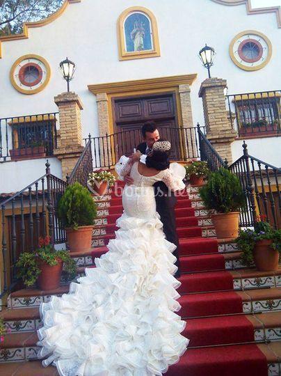 Cola novia tipo flamenco