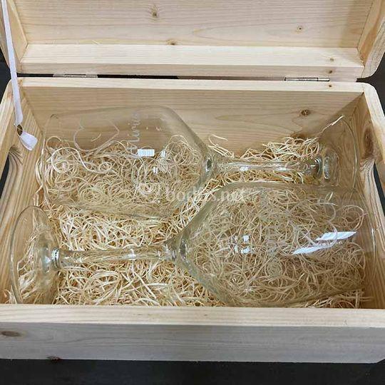 Caja de madera para copas