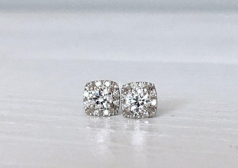 Pendientes de oro blanco y diamante