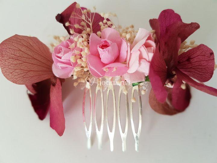 Peineta flor preservada/ papel