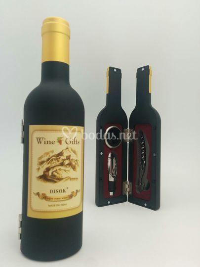Juego de vino forma botella