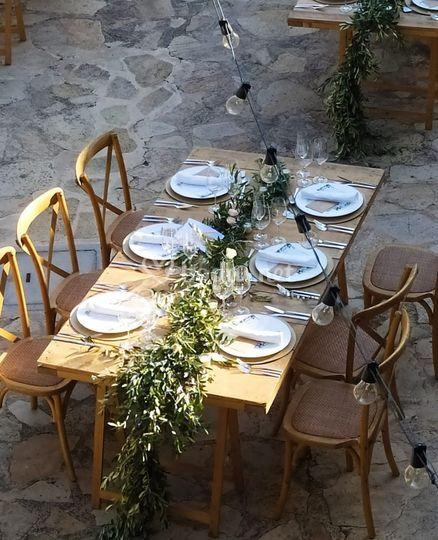 Guirnalda de olivo con velas