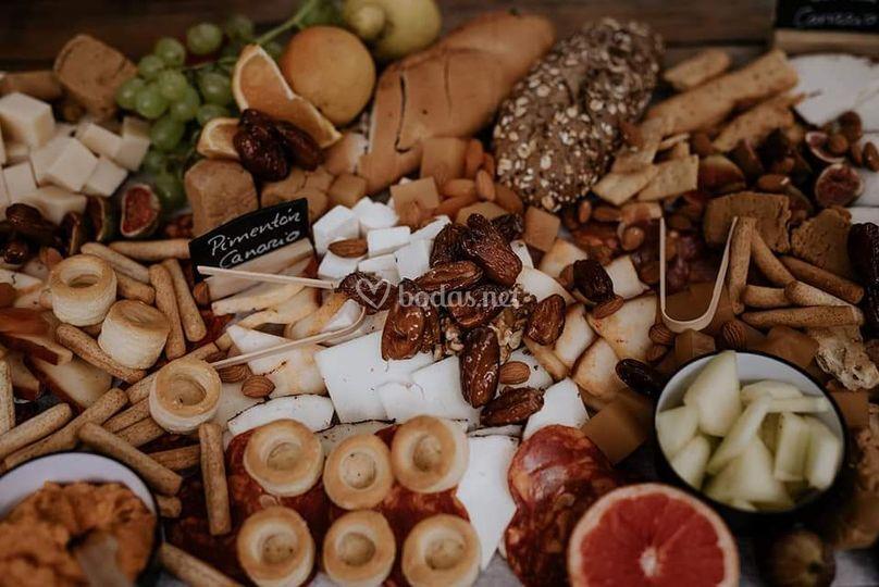 Mesas de quesos boho