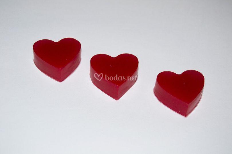 Jabones con forma de corazón