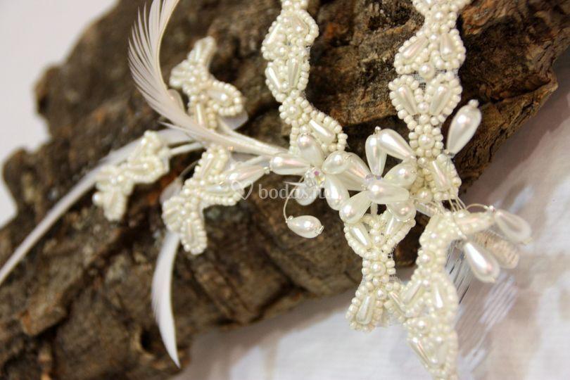Tocado novia con perlas