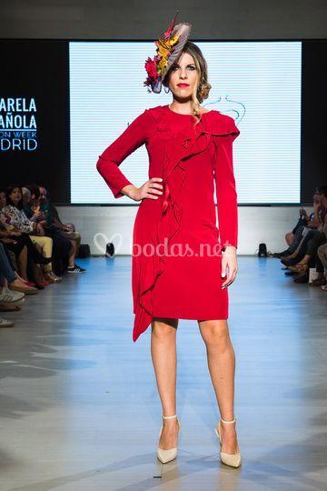 Vestido rojo con volante