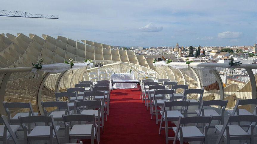 Ceremonia civil en la terraza