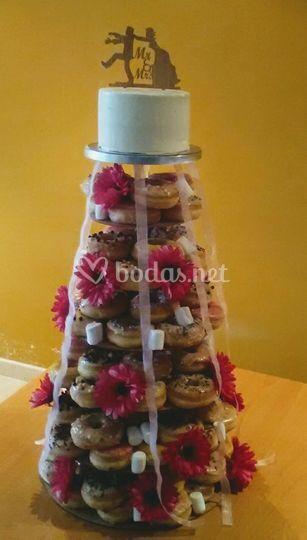 Tarta boda donuts