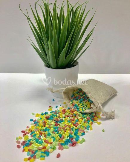 Saquitos de arroz de colores