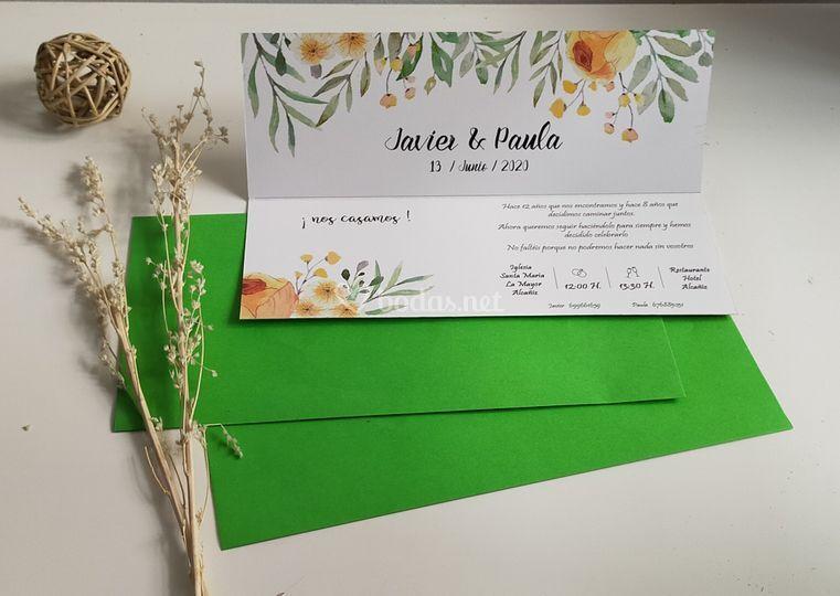 Invitación de boda interior