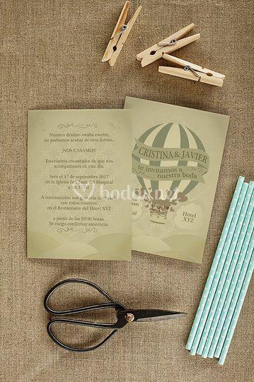 Invitación boda globo