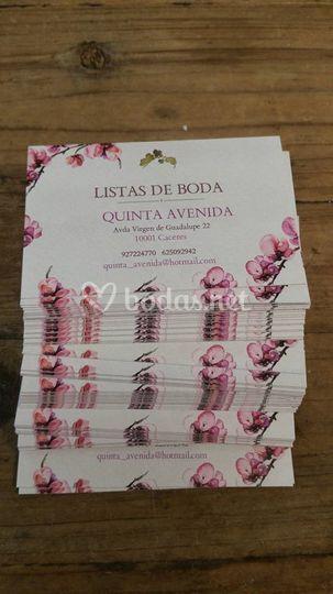 Tarjetas para listas de bodas