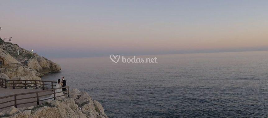 Postboda en el mar