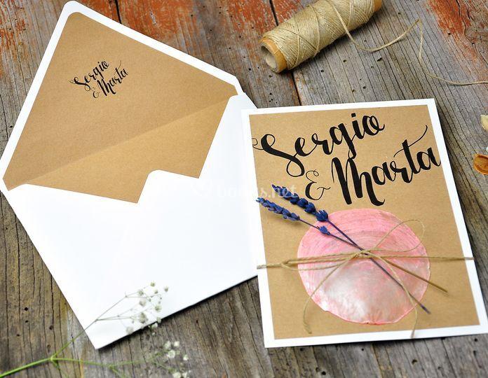 Invitación boda natura