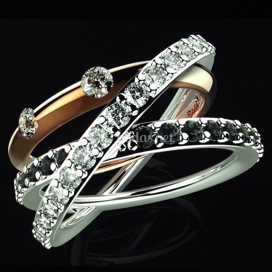 Anillo oro Blanco/Rosa diamant