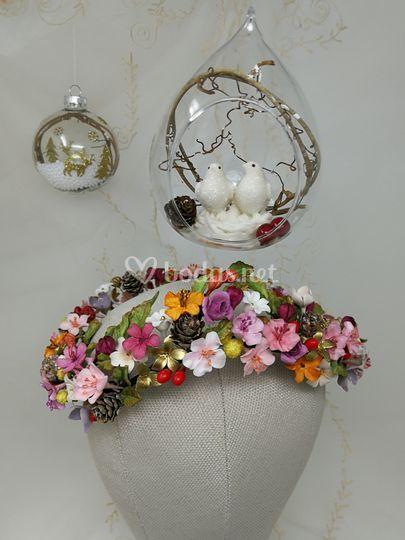 Corona flores artesanal