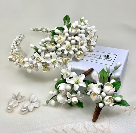 Tiara de flor de azahar