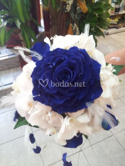 Rosmelia azul con phalenopsis