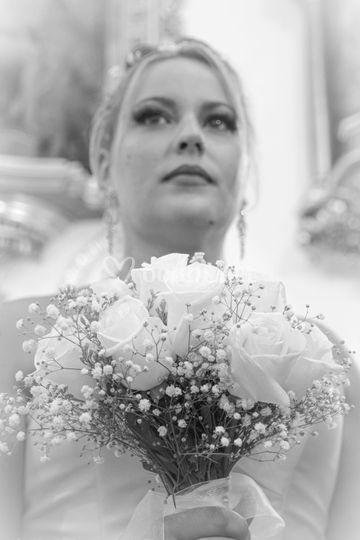 Primer plano flores de novia