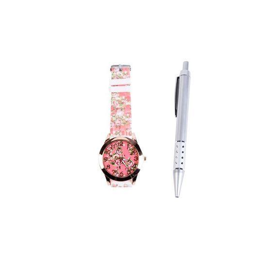 Reloj vintage y bolígrafo.