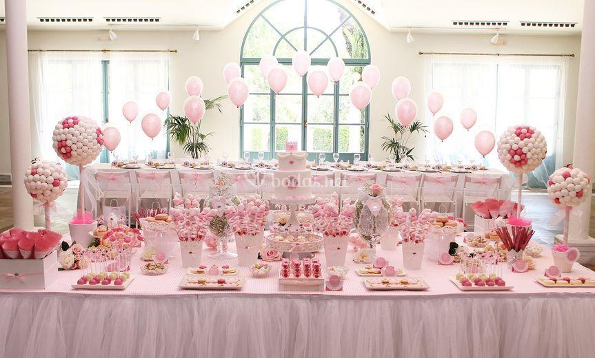 Mesa dulce en color rosa