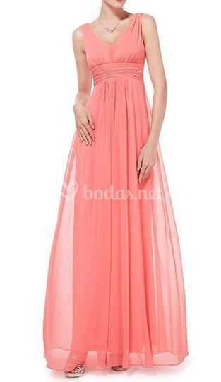 Vestido de fiesta color coral