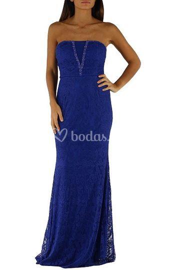 Vestido de fiesta azul encaje