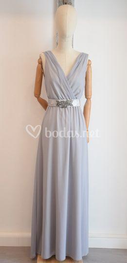 Vestido gasa gris perla