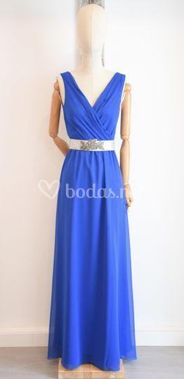 Vestido gasa azul klein
