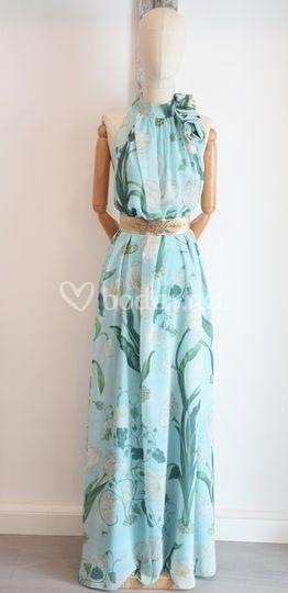 Vestido estampado turquesa