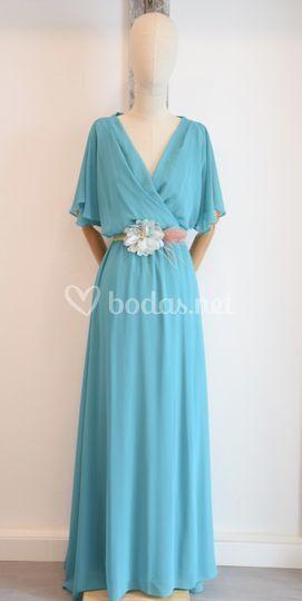Vestido turquesa mangas anchas