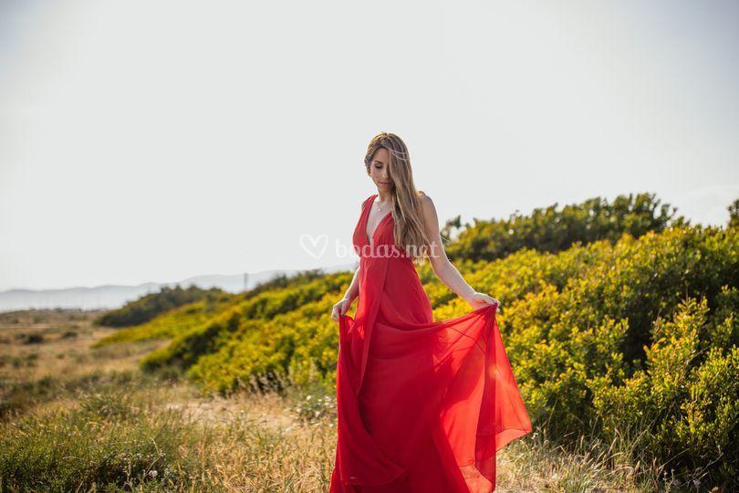 Vestido V rojo