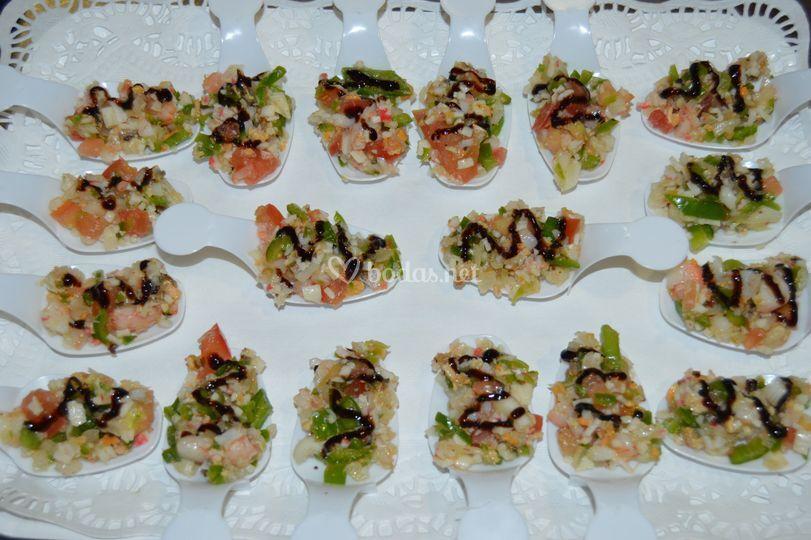 Cucharita de salpicón de marisco