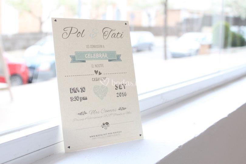 Invitación de boda a 1 cara