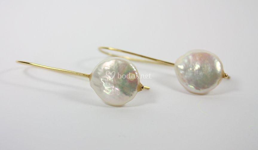Pendientes oro y perla