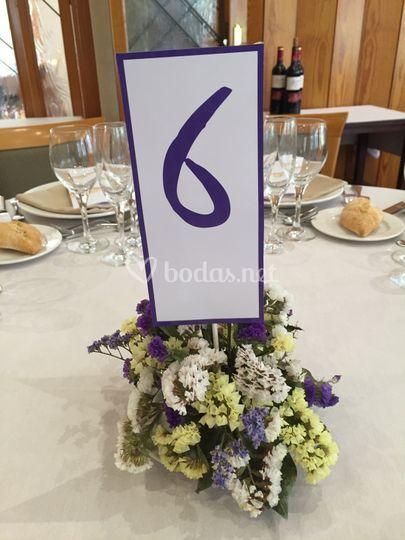 Detalle de número en una mesa
