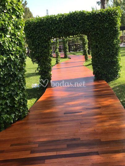 Pasarela de madera natural
