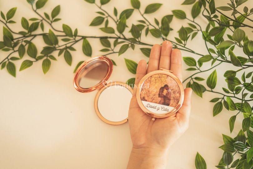 Espejito de oro rosa con foto