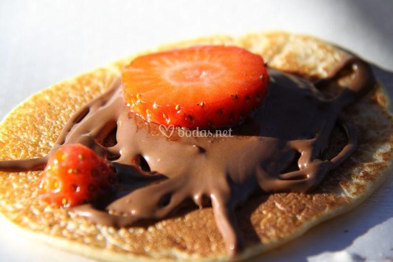Pancake de fresa y nutela