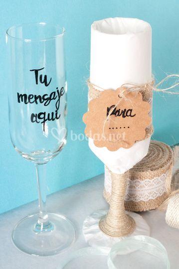 Copa de champán personalizable