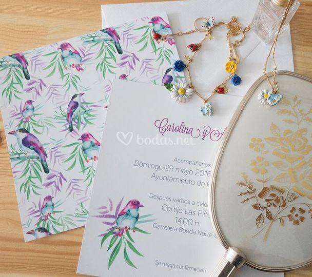 Invitaciones de boda de pájaros