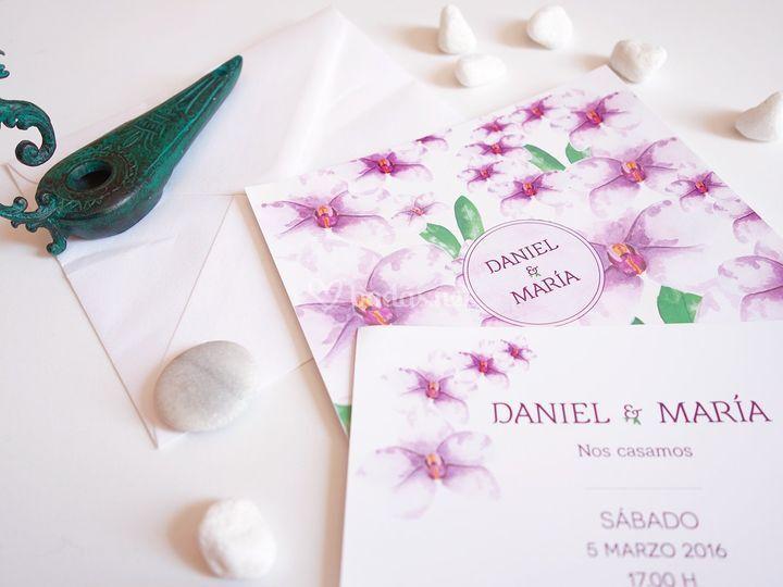 Invitación de boda de orquídeas