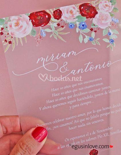 Invitación transparente de flores