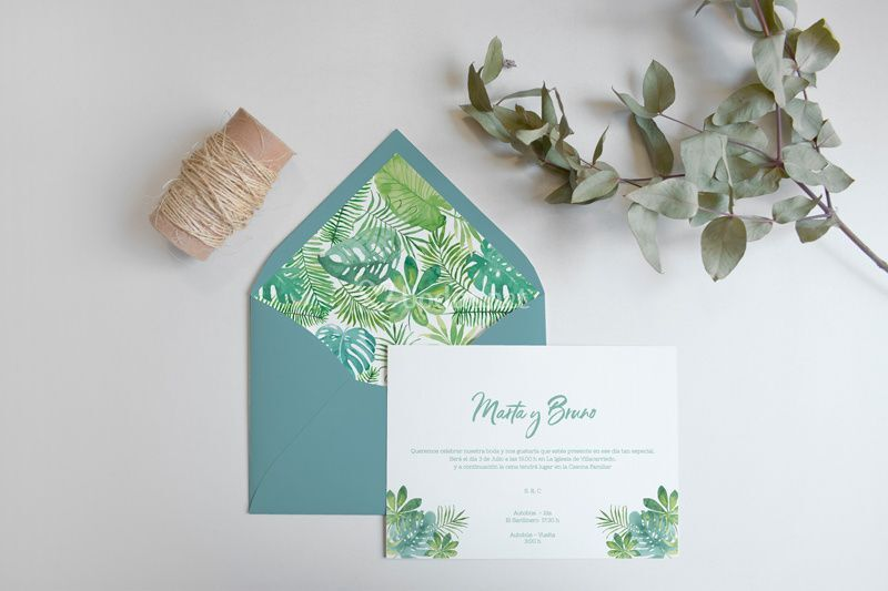 Invitación de boda tropical