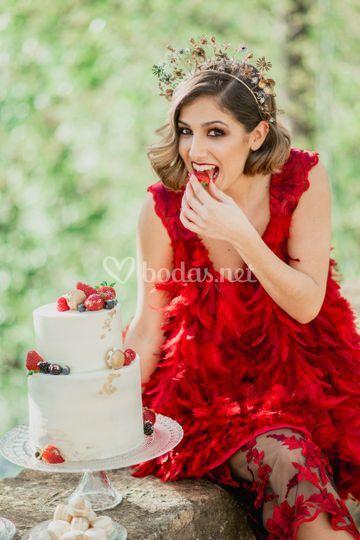 Tarta naked cake con frutos