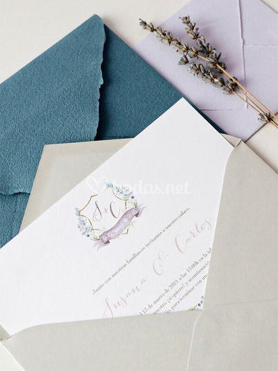 Invitación boda clásica escudo