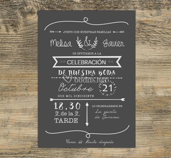 Invitación sobre papel negro