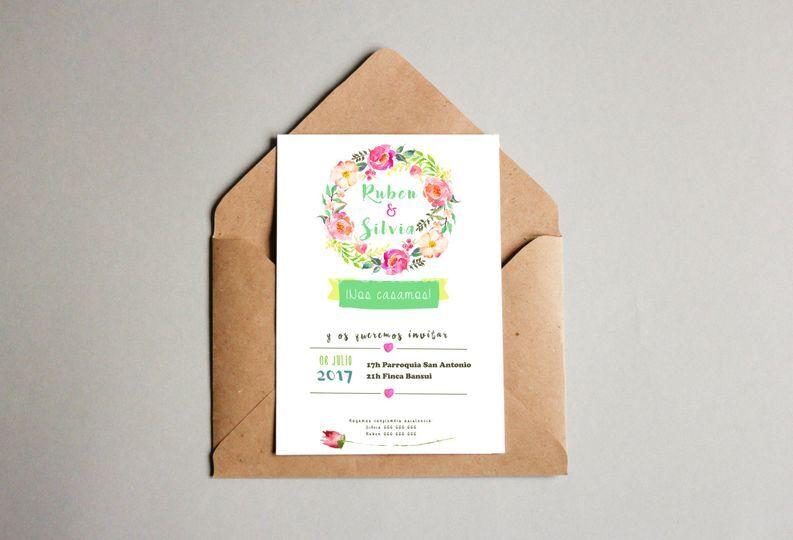 Invitación corona de flores