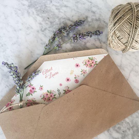 Sobre de invitación floral