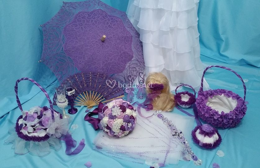 Accesorios novia violeta lila